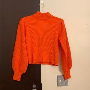 Neon orange mock neck balloon sleeve sweater